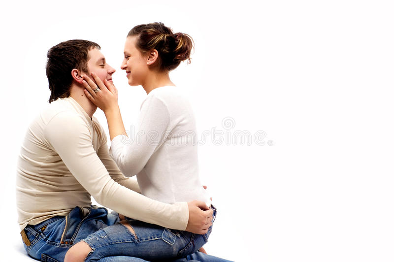 Download The Young Beautiful Woman Kisses The Man Stock Photo - Image: 10575810