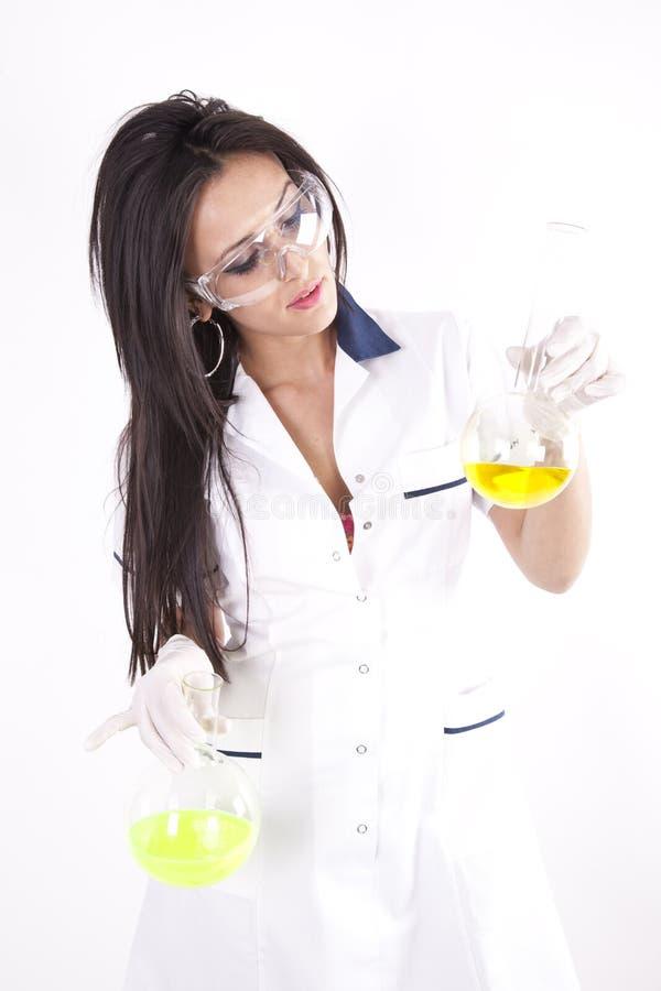 Young Beautiful Woman At The Laboratory Stock Photo