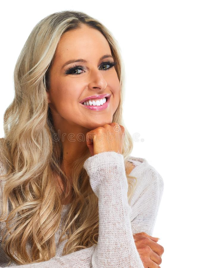 Beautiful woman portrait. Young beautiful woman with long blonde hairs isolated white background stock photo