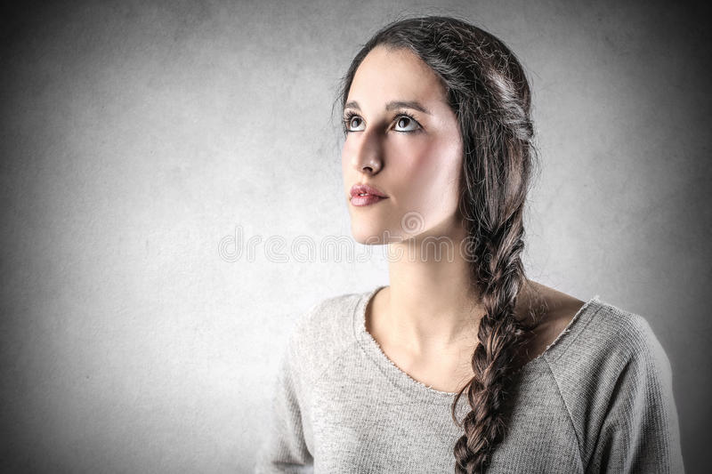 Download Young Beautiful Woman Looking At The Top Stock Image - Image of caucasian, young: 39500633