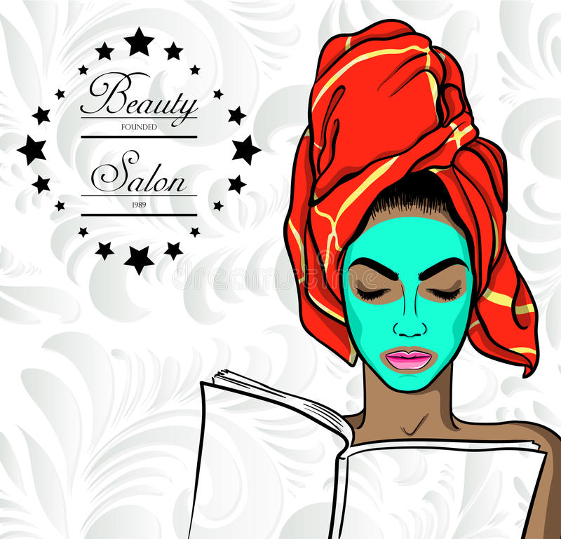 Young beautiful woman with mask on face. Vector stock illustration