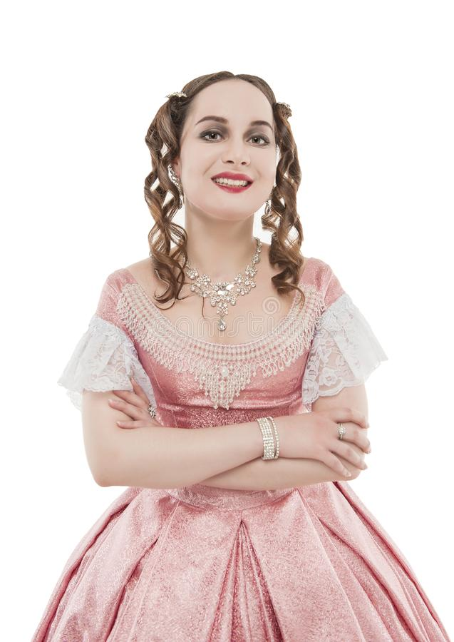 Young beautiful woman in medieval dress smiling isolated royalty free stock image