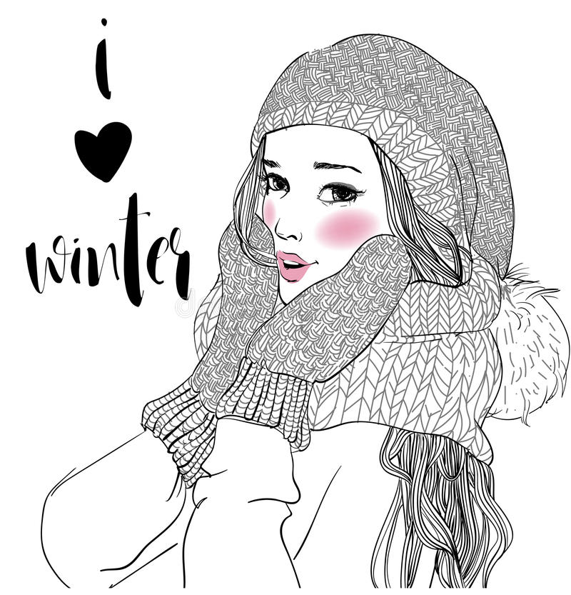 Young beautiful woman with mittens. Portrait of young beautiful woman with mittens royalty free illustration