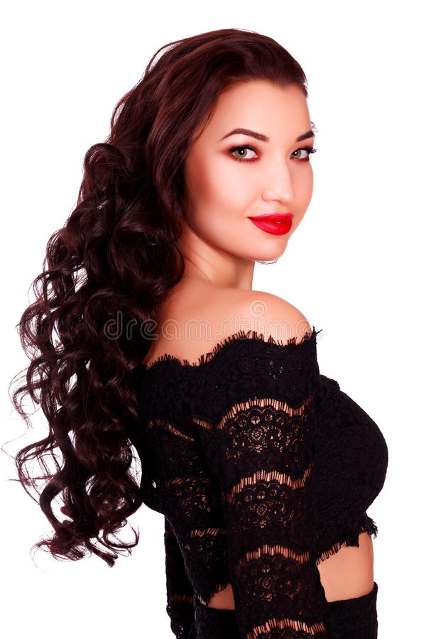 Young beautiful woman model with long hair stock images