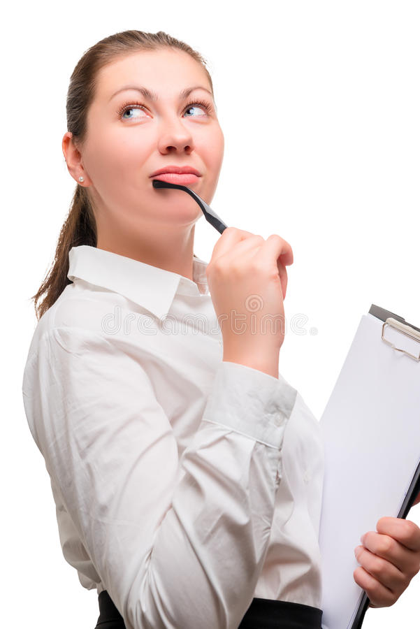 Young beautiful woman office worker stock image