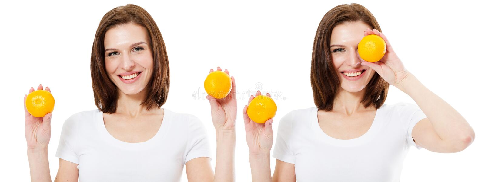 Young beautiful woman with orange on white background.Beauty, cosmetics and fashion concept.  royalty free stock photos