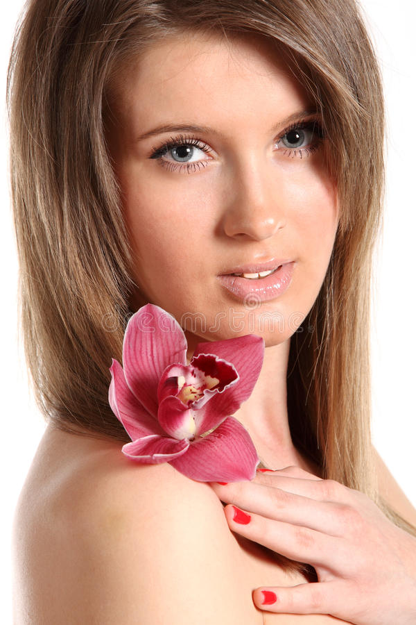 Download Young Beautiful Woman With Orchid Stock Image - Image: 13420137
