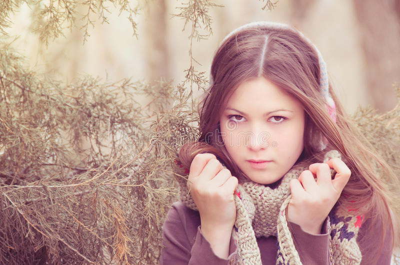 The young beautiful woman in park stock image