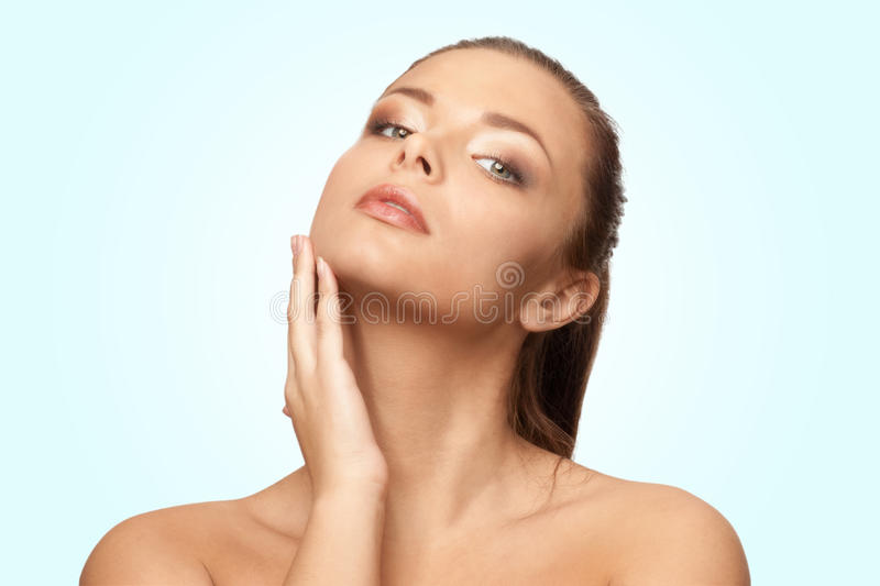 Young beautiful woman with perfect skin stock images