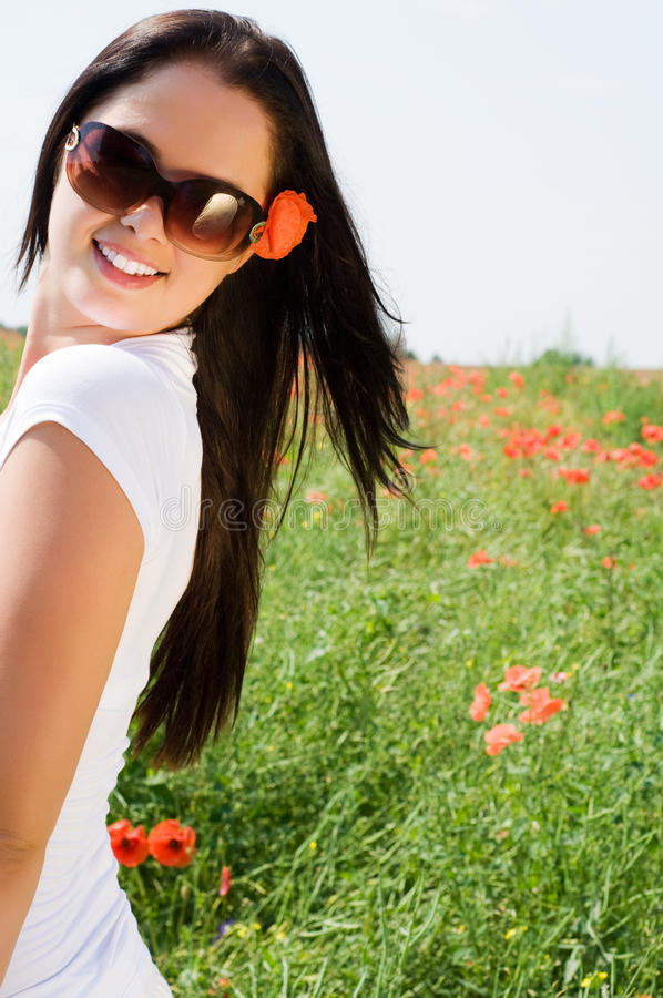 Download Young Beautiful Woman In Poppy Flowers Royalty Free Stock Images - Image: 11782029