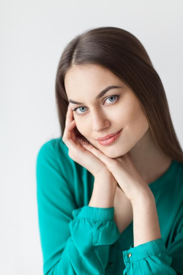Young beautiful woman portrait with healthy face skin royalty free stock photo