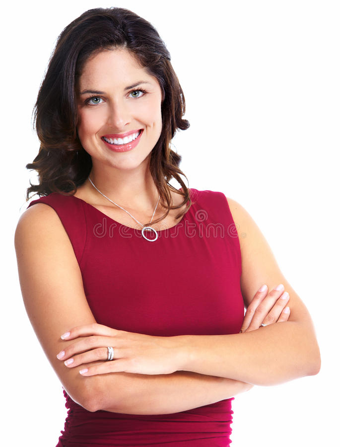 Young beautiful woman portrait. Isolated over white background stock photos
