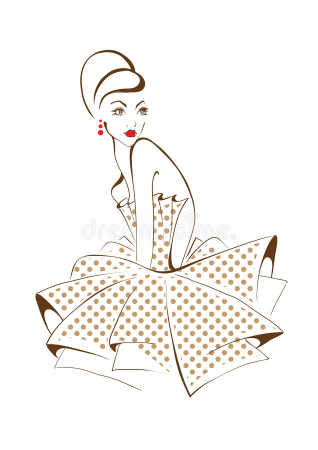 Young beautiful woman posing, isolated over white, retro styling. Beautiful woman posing, isolated over white, retro styling royalty free illustration