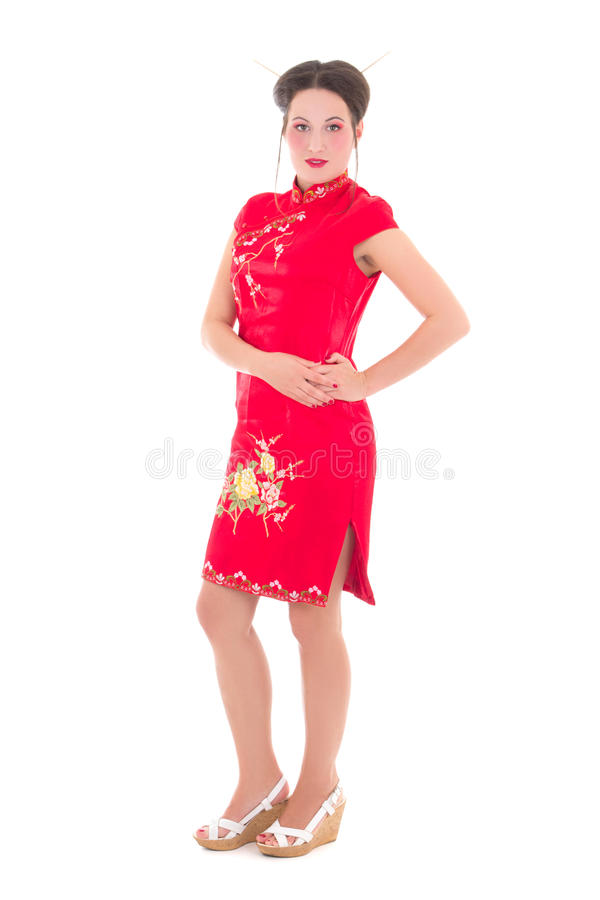 Download Young Beautiful Woman In Red Japanese Dress Isolated On White Royalty Free Stock Images - Image: 33761609