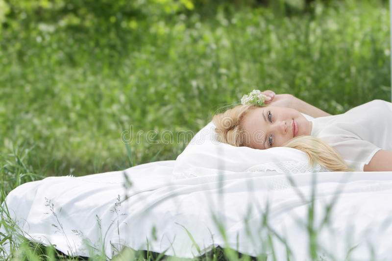Download Young Beautiful Woman Relaxing On Nature Stock Image - Image of freedom, comfortable: 24908013