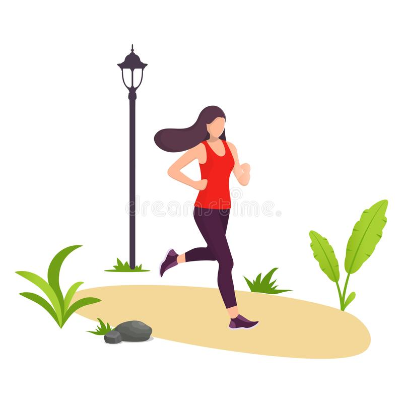 Young beautiful woman running in city park. Girl jogging. Park, plants and street lamp. Vector illustration in modern flat style f royalty free illustration