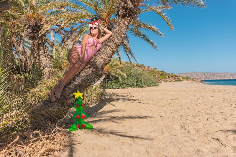 Young beautiful woman in Santa hat lying on palm tree. Christmas vacation concept stock photo
