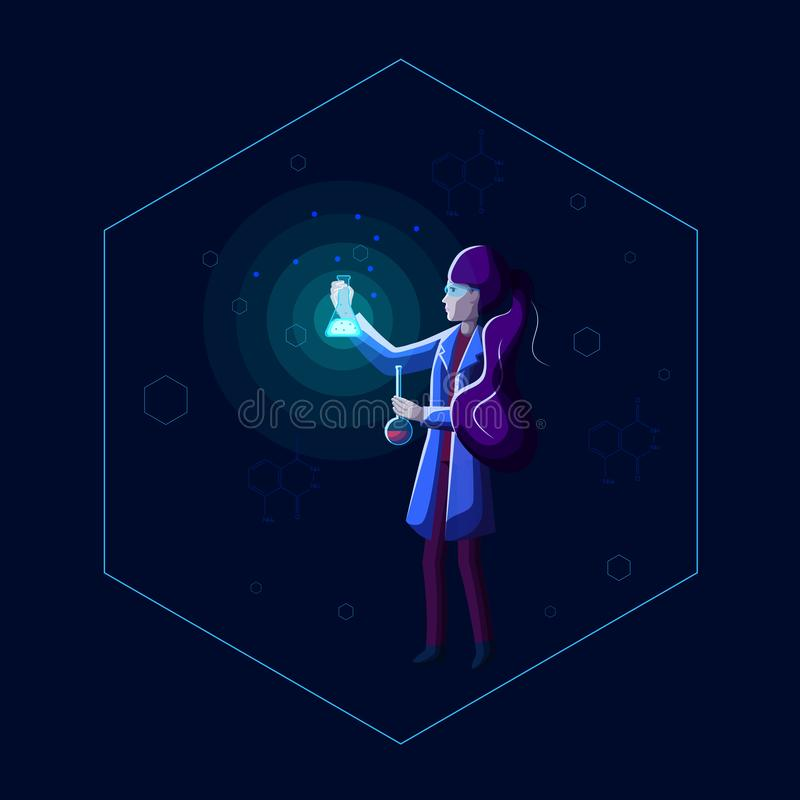 Young beautiful woman scientist holds beakers and performs chemical experiment in dark laboratory. stock illustration