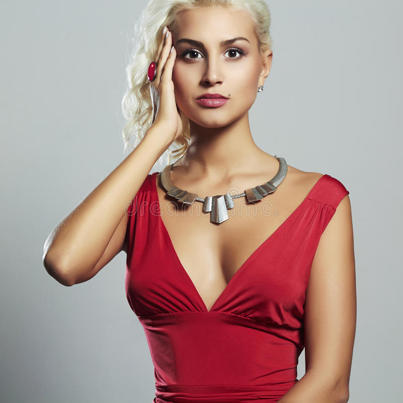 Free Young Beautiful Woman.Sexy Body Blond Girl.red Dress Royalty Free Stock Photography - 57026067