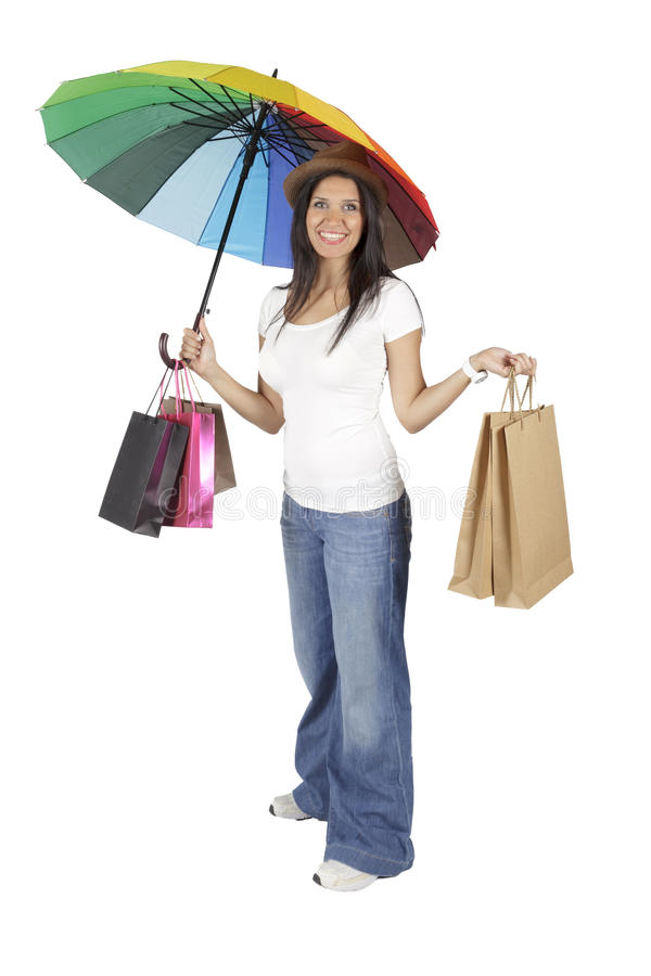 Young and beautiful woman with shopping bags stock photos