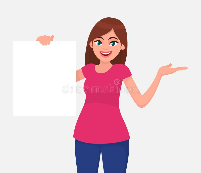 Young beautiful woman smiling and holding a blank / empty sheet of white paper or board & gesturing hand to copy space. Human emotion & body language concept royalty free illustration