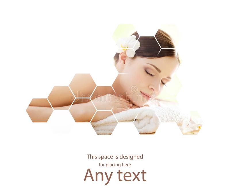 Young and beautiful woman in spa. Collage with honeycomb mosaic tiles. Massaging and healing concept. Young and beautiful woman in spa. Collage with honeycomb royalty free stock photos