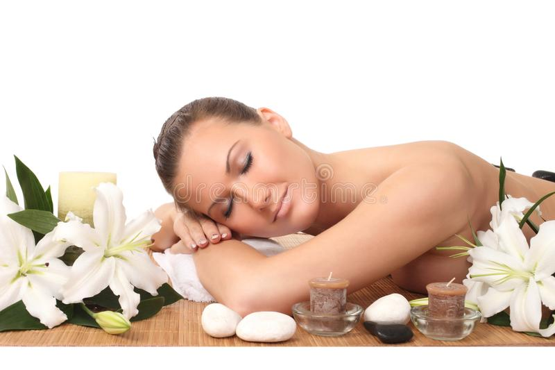 Young beautiful woman in spa environment. Portrait of young beautiful woman in spa environment stock photos