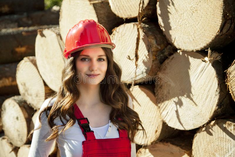 Young forest engineer standing in front of landfill of cut roundwood stock image