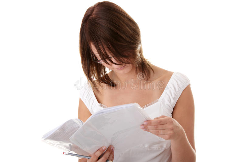 Download Young Beautiful Woman (student) Learning Stock Photo - Image of concentration, fresh: 10053640