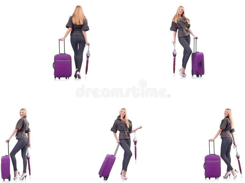 Young beautiful woman with suitcase and umbrella isolated on whi. The young beautiful woman with suitcase and umbrella isolated on whi royalty free stock photos