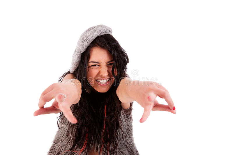 Young Beautiful  Woman With Thumbs Raised As Cool Stock Image