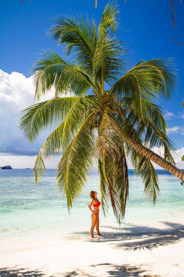 Young beautiful woman under the palm tree, tropical vacation. Maldives beach with a young woman panorama. Luxury water villas, in exotic blue lagoon. Full screen royalty free stock images