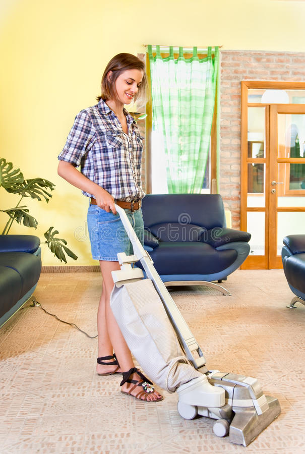 Download Young Beautiful Woman With Vacuum Cleaner At Home. Stock Photo - Image of dusty, cleaner: 29155756