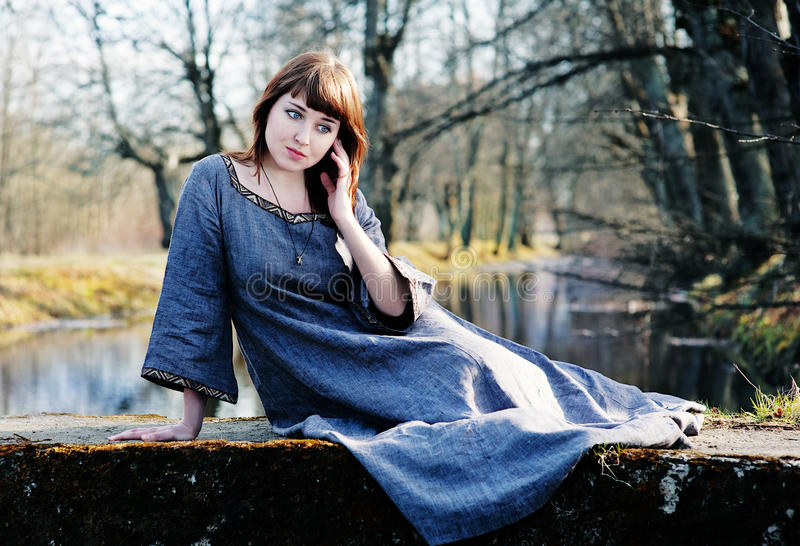 Download Young Beautiful Woman In Vintage Dress Stock Photo - Image: 24775392