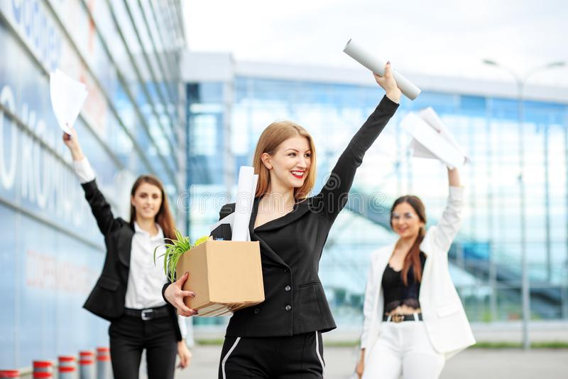 Young beautiful woman was recruited. Career start. Concept for business, boss, robot, team and success royalty free stock photo