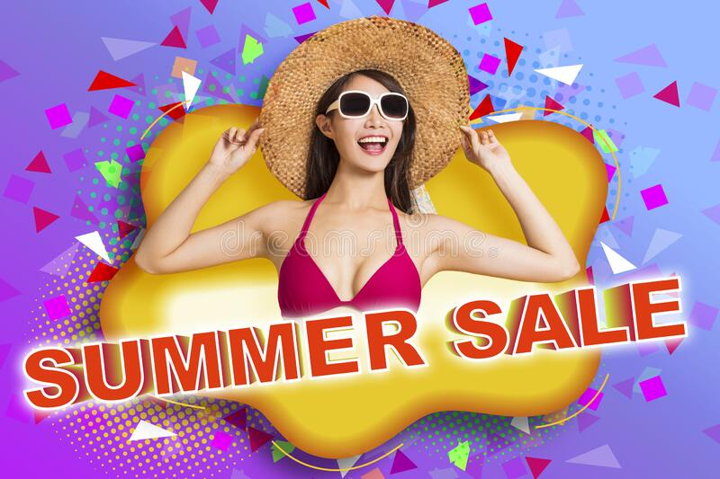 Young beautiful woman wearing swimsuit bikini  with summer sale concept royalty free stock photo