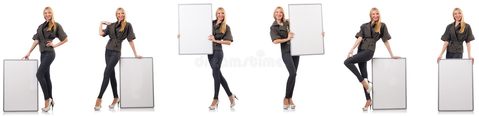 The young beautiful woman with whiteboard isolated on white stock image
