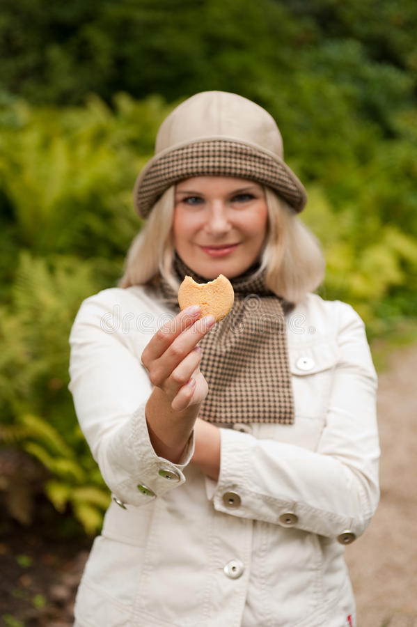 Free Young Beautiful Woman With Cookie Royalty Free Stock Photo - 12710805
