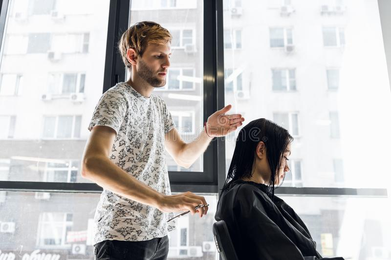 Young beautiful woman having her hair cut at the hairdresser`s. Young male hairdresser smiling and making hairstyle to stock photo