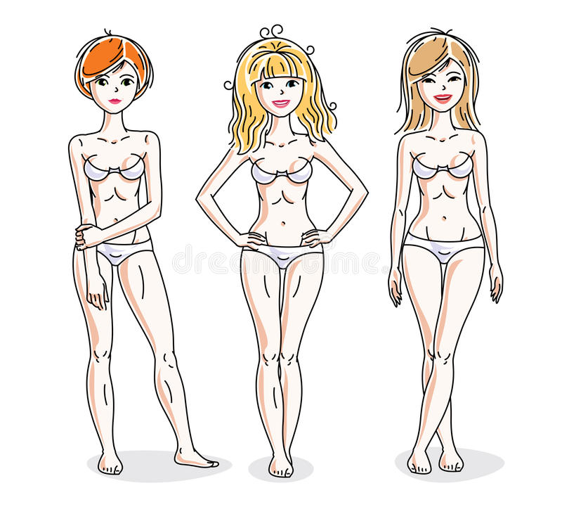 Young beautiful women standing in white underwear. Vector set of. Beautiful people illustrations royalty free illustration