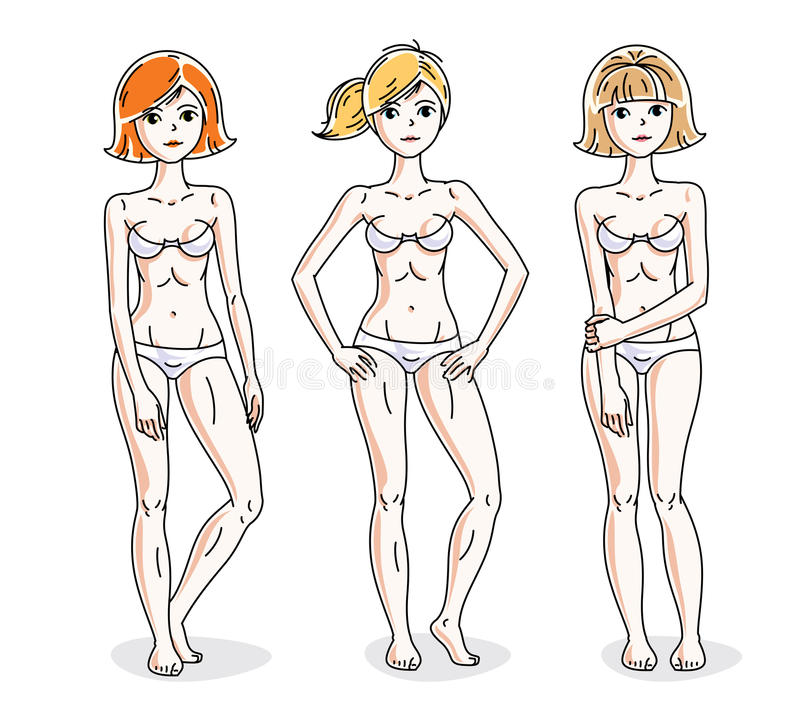 Young beautiful women standing in white underwear. Vector set of. Beautiful people illustrations. Slim female with perfect body vector illustration