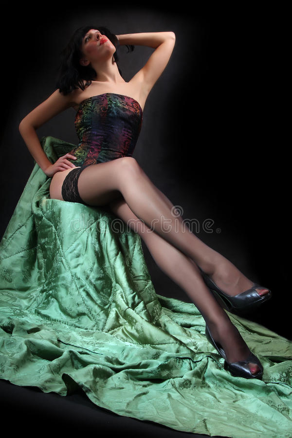 Download Young beauty stock photo. Image of pinup, girl, black - 11504812