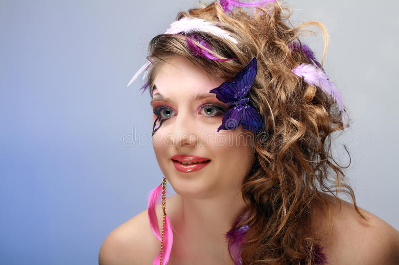 Download Young Beauty With Butterfly Face-art Stock Photo - Image: 23978212