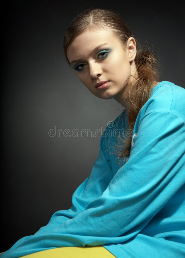 Young beauty gir. L on black background stock photos