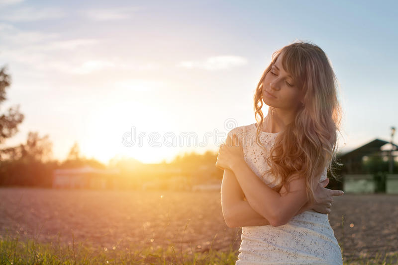 Young beauty girl woman with closed eyes outdoors stock images