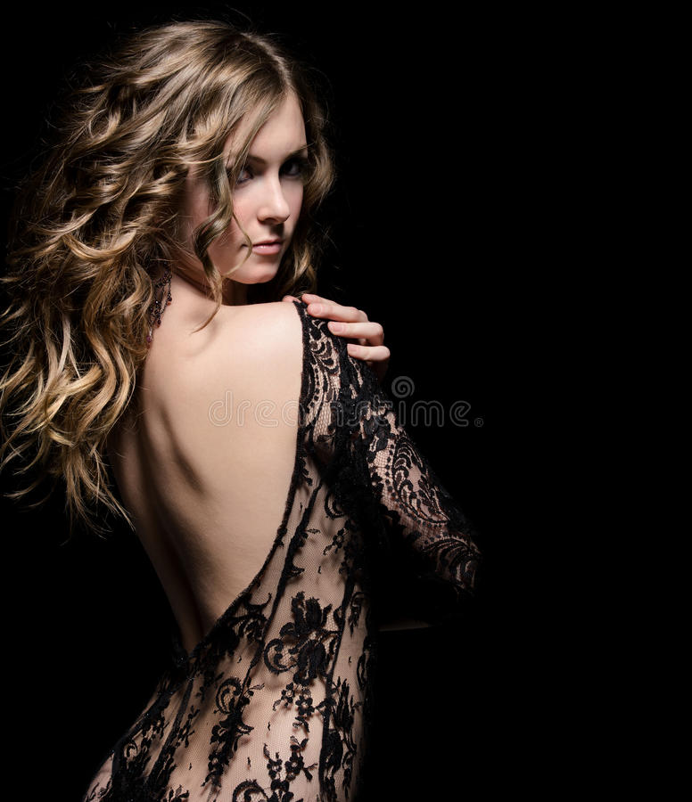 Download Young beauty in lace dress stock image. Image of elegant - 18095793