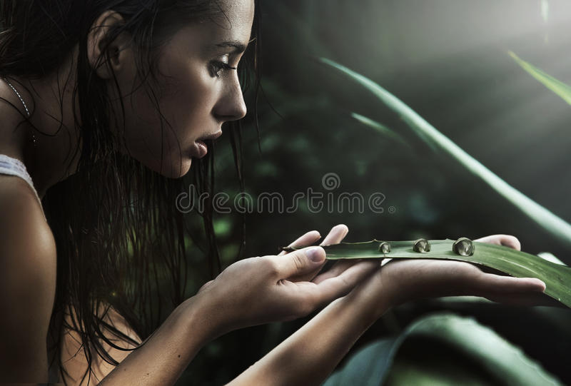Download Young Beauty Looking At Perls Stock Photo - Image: 15762932