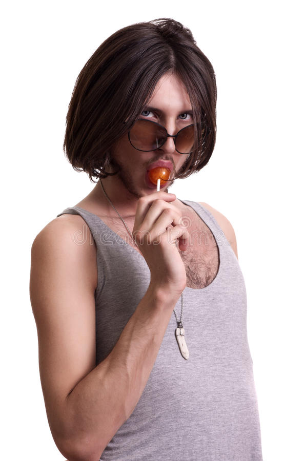 Young beauty men with lollipop stock image