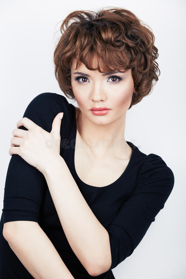 Young beauty model with short hair royalty free stock image