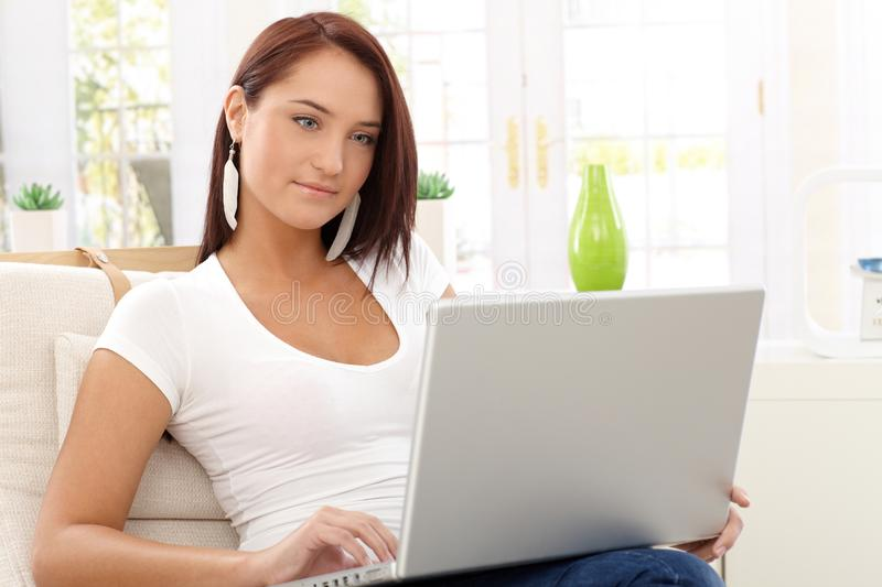 Young Beauty Using Laptop Royalty Free Stock Image
